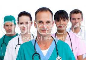 Positive male doctor and his medical team