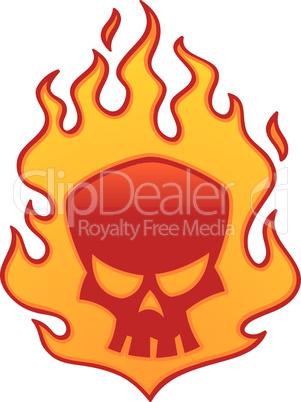 Red Flaming Skull
