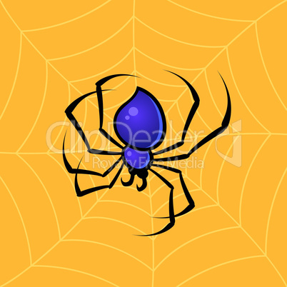Spider With Web Background
