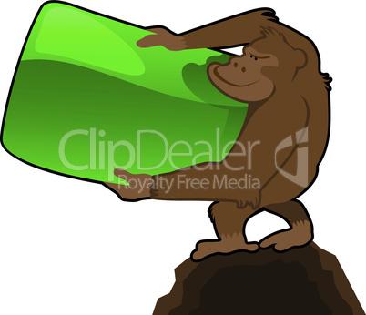 Affe mit Banner