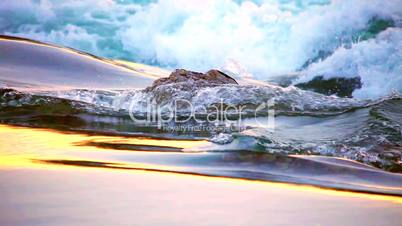 water flow to waterfall looping time laps in sunrise