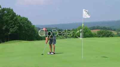 Golfer Sinks Putt