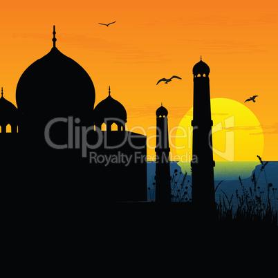 silhouette view of Taj Mahal, agra, India, sunrise,sunset