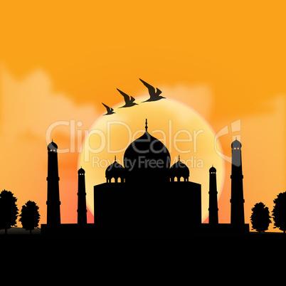silhouette view of Taj Mahal, agra, India with sunrise backgroun