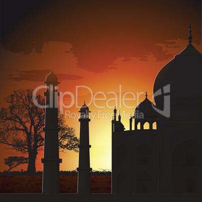 silhouette view of Taj Mahal, agra, India