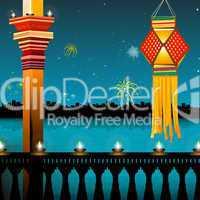 lamp lighting, lanterns, fireworks, balcony,festival - diwali