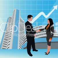 business people shaking hands, stock exchange background