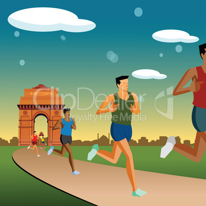 race in new delhi, india gate background