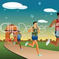 race in new delhi, india gate background
