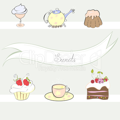Stylized background with sweets