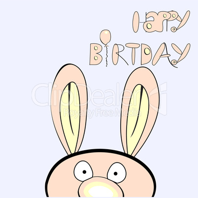 Inscription happy birthday with rabbit