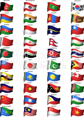 wavy asian flags set