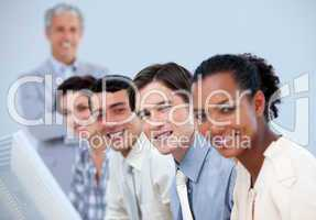 Assertive business partners with their senior manager