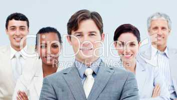 Multi-ethnic business partners standing with folded arms