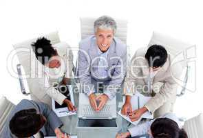 Positive international business people in a meeting