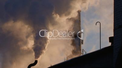 HD Pollution of environment, exhaust smoke from plant