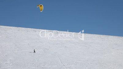 Snowkite high on mountain