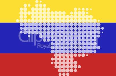 Karte und Fahne von Venezuela