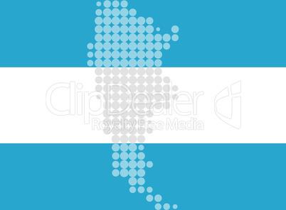 Karte und Fahne von Argentinien