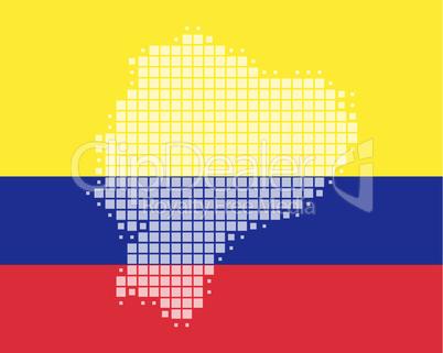 Karte und Fahne von Ecuador