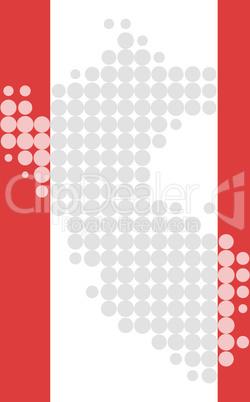 Karte und Fahne von Peru