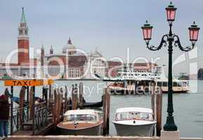 Italy, Venice: taxi boats, gondola, vaporetto and ferry boat