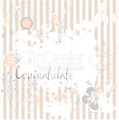 Inscription Congratulate on grunge floral background