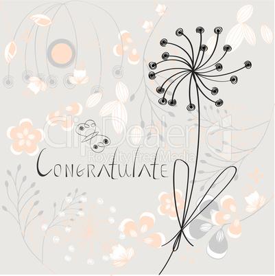 Inscription Congratulate with flowers