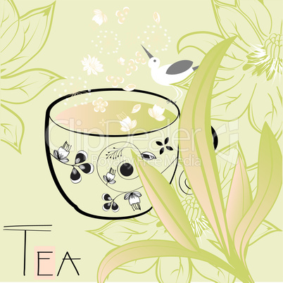Floral background with a cup of tea
