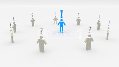 human symbol with exclamation mark surrounded by people with question marks concept loopable 3d animation