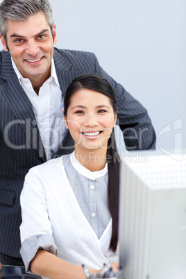Smiling businesswoman and her manager working at a computer
