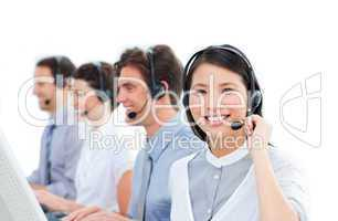 United group of customer service agents working in a call center