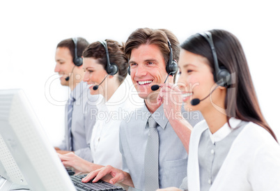 Portrait of charismatic customer service agents working in a cal