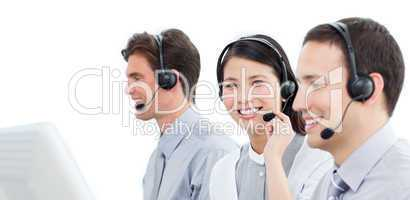 Assertive customer service agents working in a call center