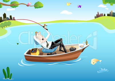 Fishing Time for Businessman