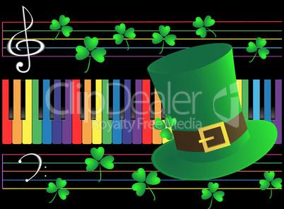 Piano keys and green
