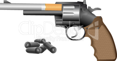 Revolver and cigarette