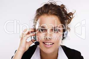 Young woman with headphone on white background