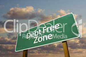 Debt Free Zone Green Road Sign and Clouds