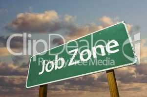 Job Zone Green Road Sign Over Clouds