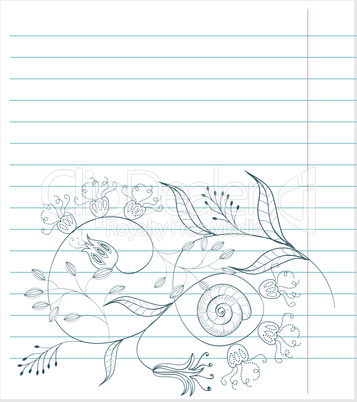 Note paper with floral sketch