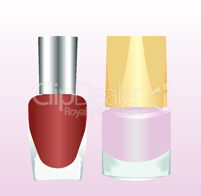 Realistic two nail polishes