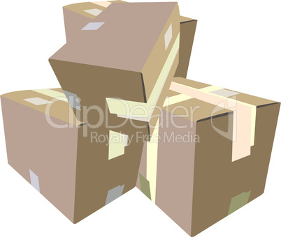 Realistic illustration of boxes