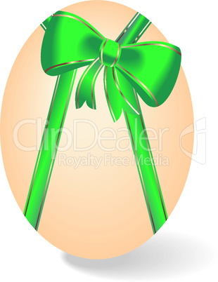 Realistic illustration by Easter egg with bow