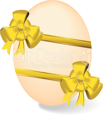 Realistic illustration by Easter egg with yellow bow
