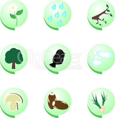 Eco icon set on white background - vector