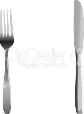 Realistic illustration set of fork and knife