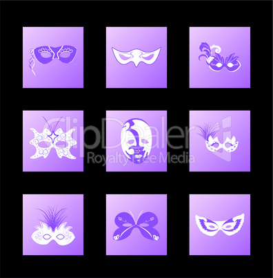 Set icon of carnival mask