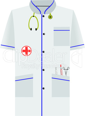 Medical dressing gown of isolated on white background