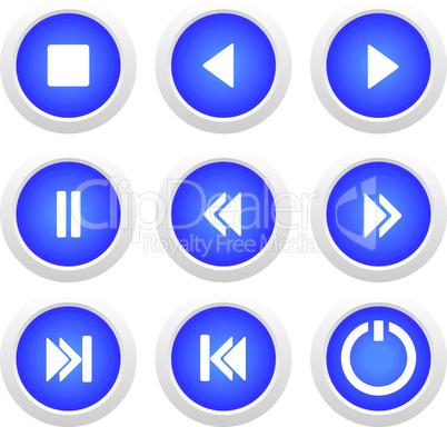 Music blue buttons set